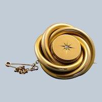 15 CT Circa 1880 Diamond Knot Brooch