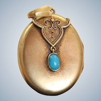 Late 19th Century 14 K Gold Turquoise Locket