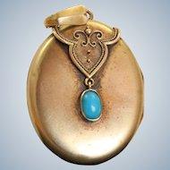 Late 19th Century 14 K Gold Turquoise Locket