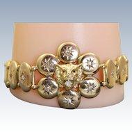 Late 19th Century 10 K Lion Diamond Button Bracelet