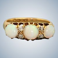 18CT 1902 London 2.5 CT Opal and Diamond Ring