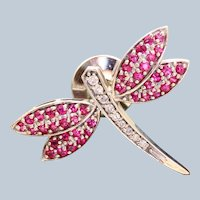 Estate 14K Diamond and Pink Sapphire Firefly Pin