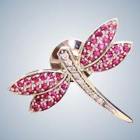 Estate 14K Diamond and Pink Sapphire Firefly Pin