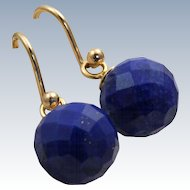 Estate English 14 K Lapis Fish Hook Earrings