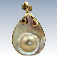 Estate 14 K Blister Pearl and Ruby Pendant/Enhancer
