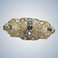 18 KW Edwardian Sapphire and Rose Cut Diamond Brooch/Pendant