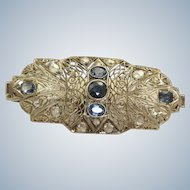18 K W Edwardian Sapphire and Rose Cut Diamond Brooch/Pendant