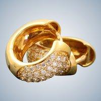 Estate 18K French Diamond Huggie Earrings