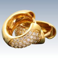 Estate 18 K French Diamond Huggie Earrings