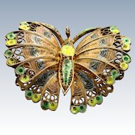 Early 800 Silver Enamel Butterfly
