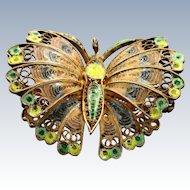Early 800 Silver Enamel Butterfly