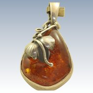 Estate Sterling Art Nouveau Honey Amber Pendant