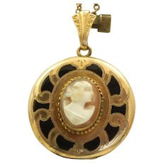 Estate Gold Filled Cameo Enamel Locket