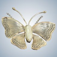 Estate Sterling Baroque Pearl Butterfly Pendant