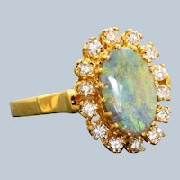 Estate 14 K Black Opal and Diamond Ring