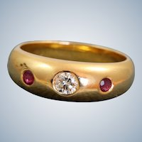 Estate @21 K Diamond and Ruby Gypsy Ring