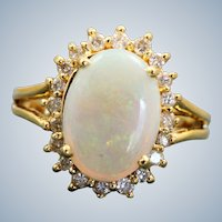 Estate 14K Opal and Diamond Ring