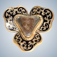 Estate 14K Enamel Mourning Brooch