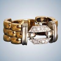 Estate 18K Diamond Watch Band Ring