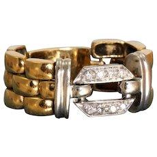Estate 18 K Diamond Watch Band Ring