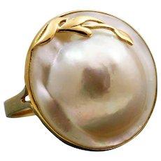Estate 14 K Mabe Pearl Ring