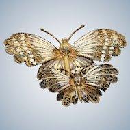 Estate Pair of 800 Silver Filigree Enamel Butterfly Pins