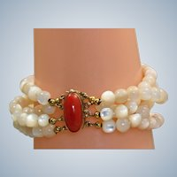Estate Coral 800 Silver Vermeil Mother of Pearl Bracelet