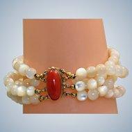 Estate Coral 800 Silver Vermeil Mother of Pearl Bracelet