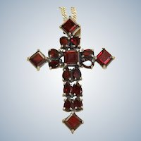Estate Italian Sterling Garnet Cross