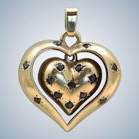Estate 14K Sapphire Double Heart Pendant