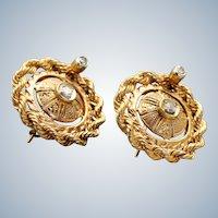 Estate 14K Etruscan Revival Twisted Rope Diamond Earrings