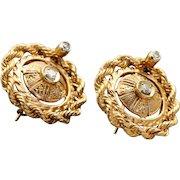 Estate 14 K Etruscan Revival Twisted Rope Diamond Earrings