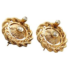 Estate 14 K Etruscan Revival Twisted Rope Diamond Earrings