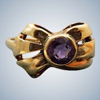 Estate 14K Amethyst Bow Ring