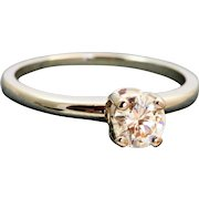 Estate 18 K Jabel 0.50 CT Solitaire GIA Certified Diamond