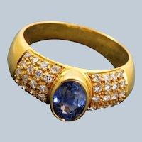 Estate 20K 1CT Sapphire and Diamond Ring