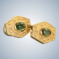 Estate 14K 1980's Etruscan Revival Tourmaline Earrings