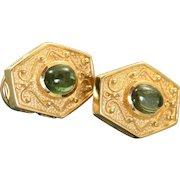 Estate 14 K 1980's Etruscan Revival Tourmaline Earrings