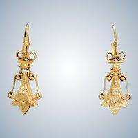 Estate 14K Etruscan Revival Diamond Earrings