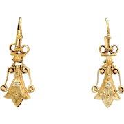 Estate 14 K Etruscan Revival Diamond Earrings