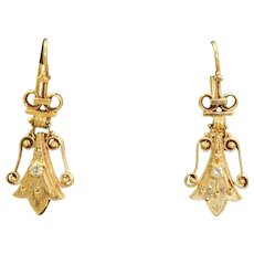 Estate 14 K Etruscan Revival Diamond Earrings