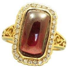 Estate 15 CT Rhodolite Garnet and Diamond Ring