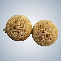 Estate 18K Italian Bee Hive Earrings