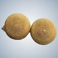 Estate 18 K Italian Bee Hive Earrings