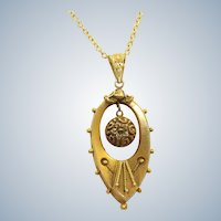 15 CT Gold Etruscan Revival Pendant