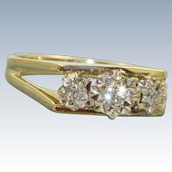 Estate 18 K Three Diamond Illusion Set Ring