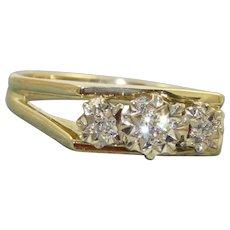 Estate 18 K Three Diamond Illusion Set Ring