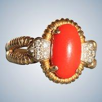 Estate 18 K Mediterranean Coral Diamond Ring