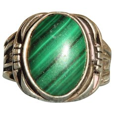 Estate Sterling Malachite Men's Ring
