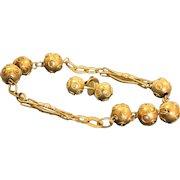 Estate 18 K Etruscan Revival Bracelet Earring Set